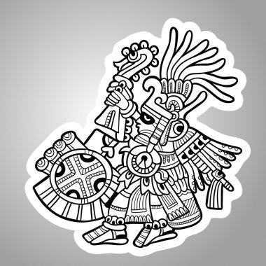 Person. Illustration of the Maya object. Maya design elements. Black and white.
