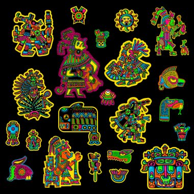 Set of flyuro image of the Maya. Maya designs. Maya design elements.