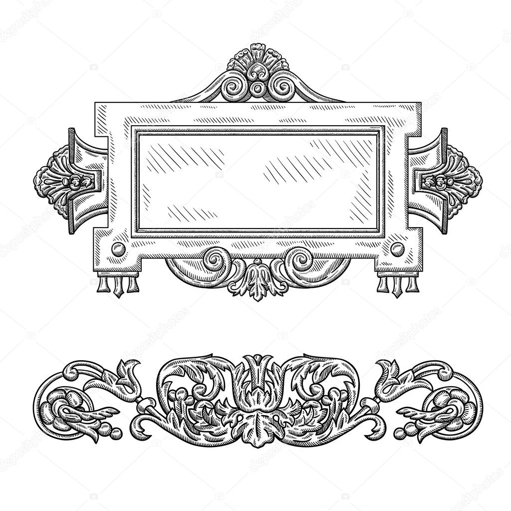elemento decorativo vintage heráldico. objeto aislado sobre fondo ...