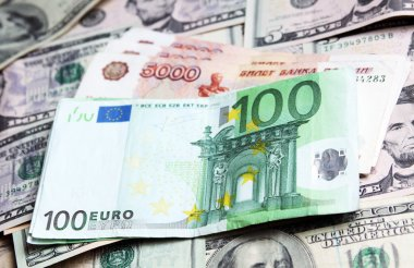 Money of different countries: dollars, euros and modern russian