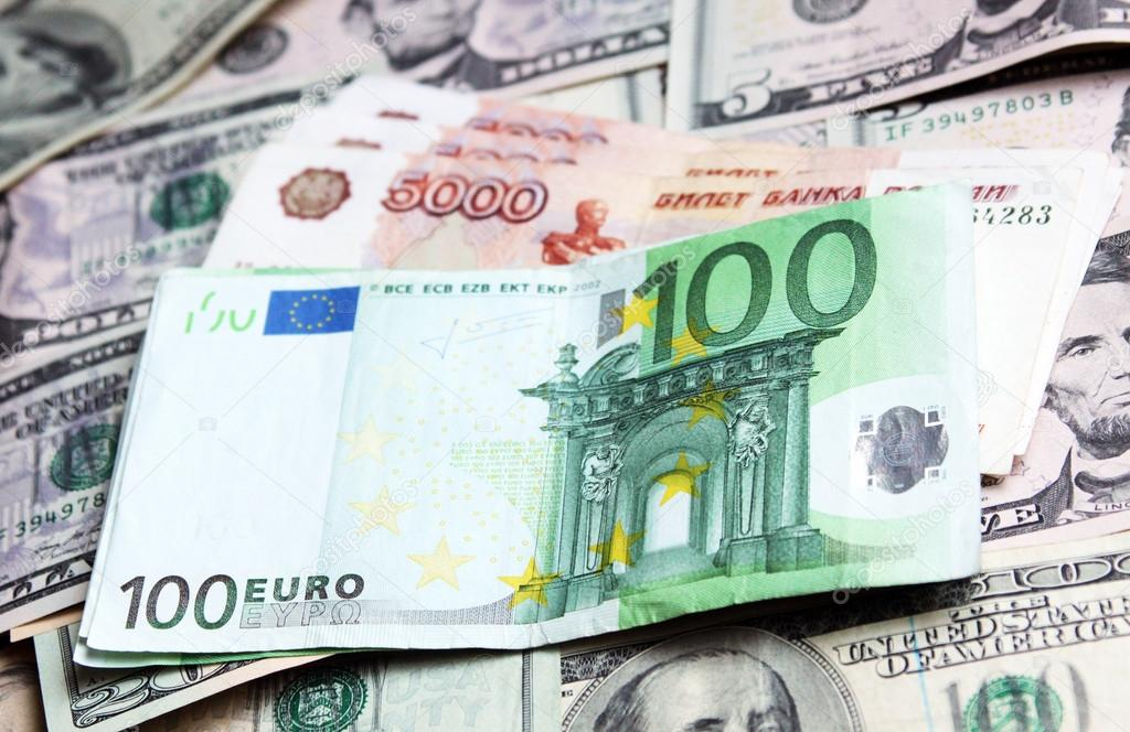 money of different countries dollars euros and modern russian