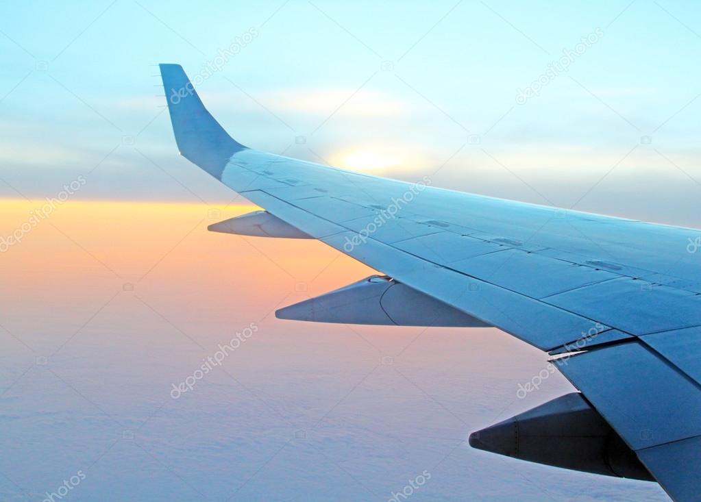 Beautiful aerial sunrise view from airplane window