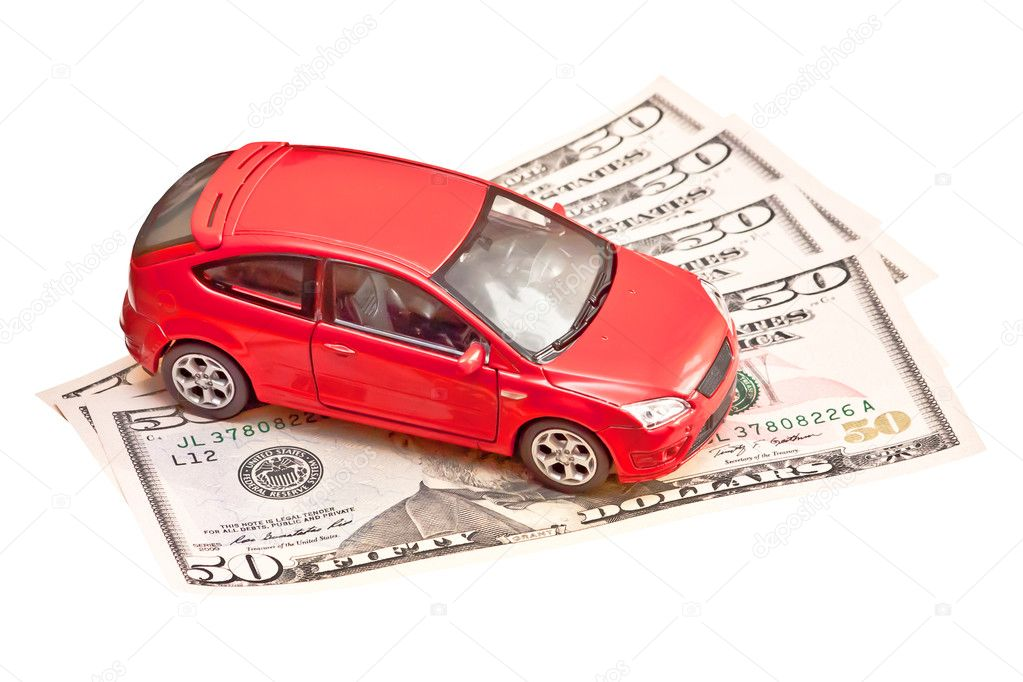 Speelgoedauto En Geld Over Wit Huren Kopen Of Verzekering Concept
