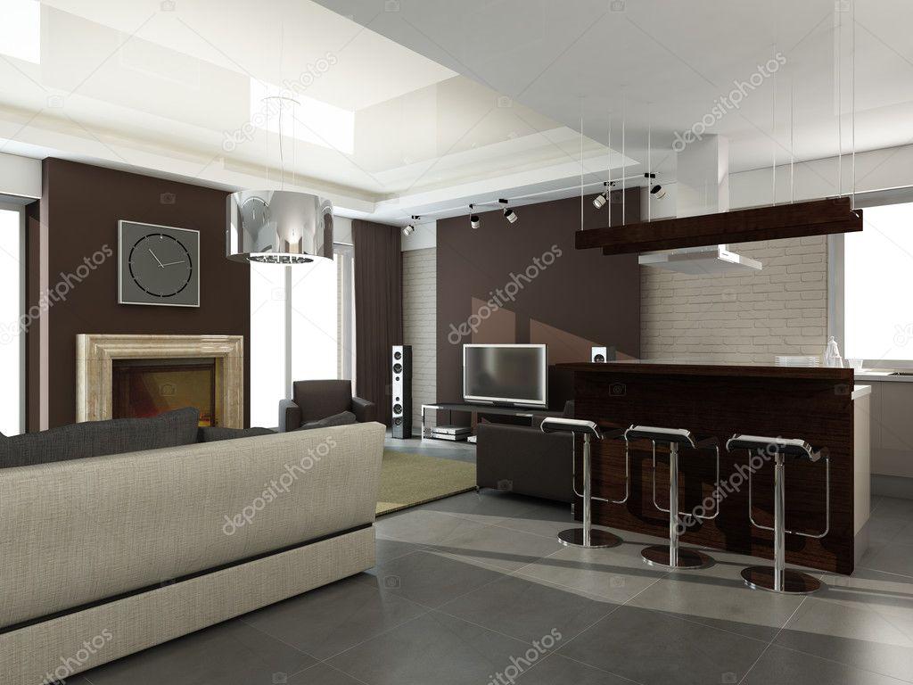 Moderne innenarchitektur küche  Innenarchitektur. Küche — Stockfoto #42129075