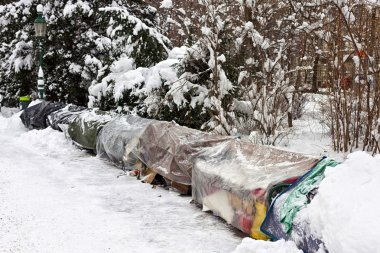 Roost of homeless in winter