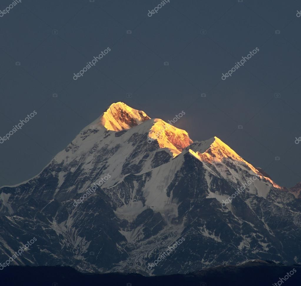 Illuminated mountain peak