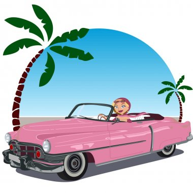 Girl in pink convertible car from the 50