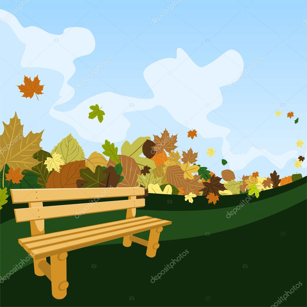 Wooden bench on a road with leaves