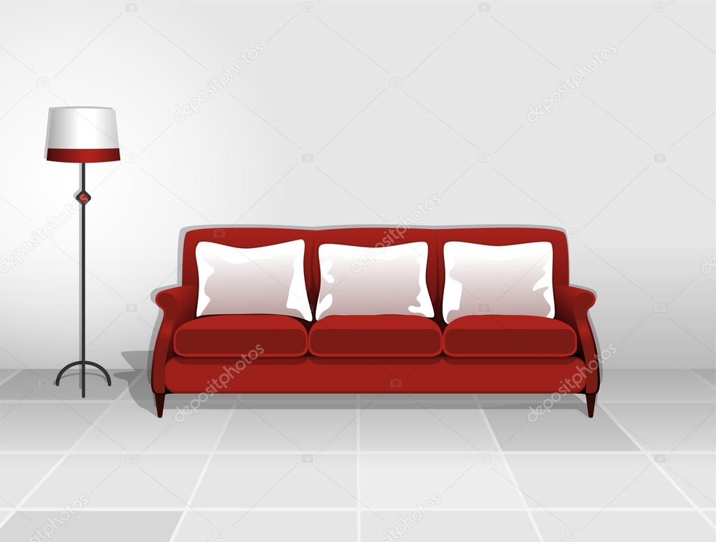 Divano Rosso Cuscini : Divano rosso con cuscini bianchi u vettoriali stock puchalt
