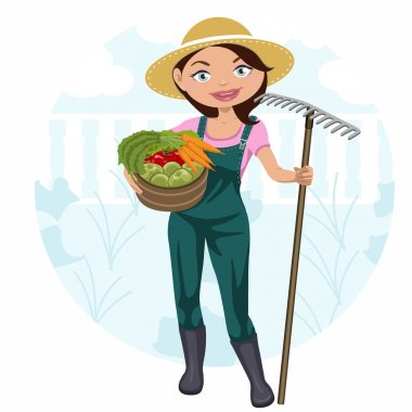 Young woman working in the vegetable garden and vegetable basket. stock vector
