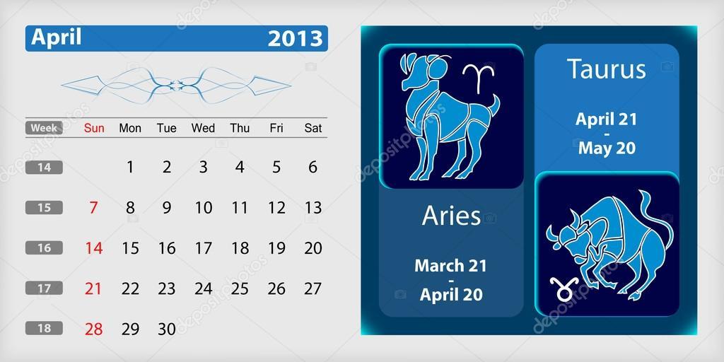April 2013 Kalender Und Sternzeichen Stockvektor Sasa1867 14687223