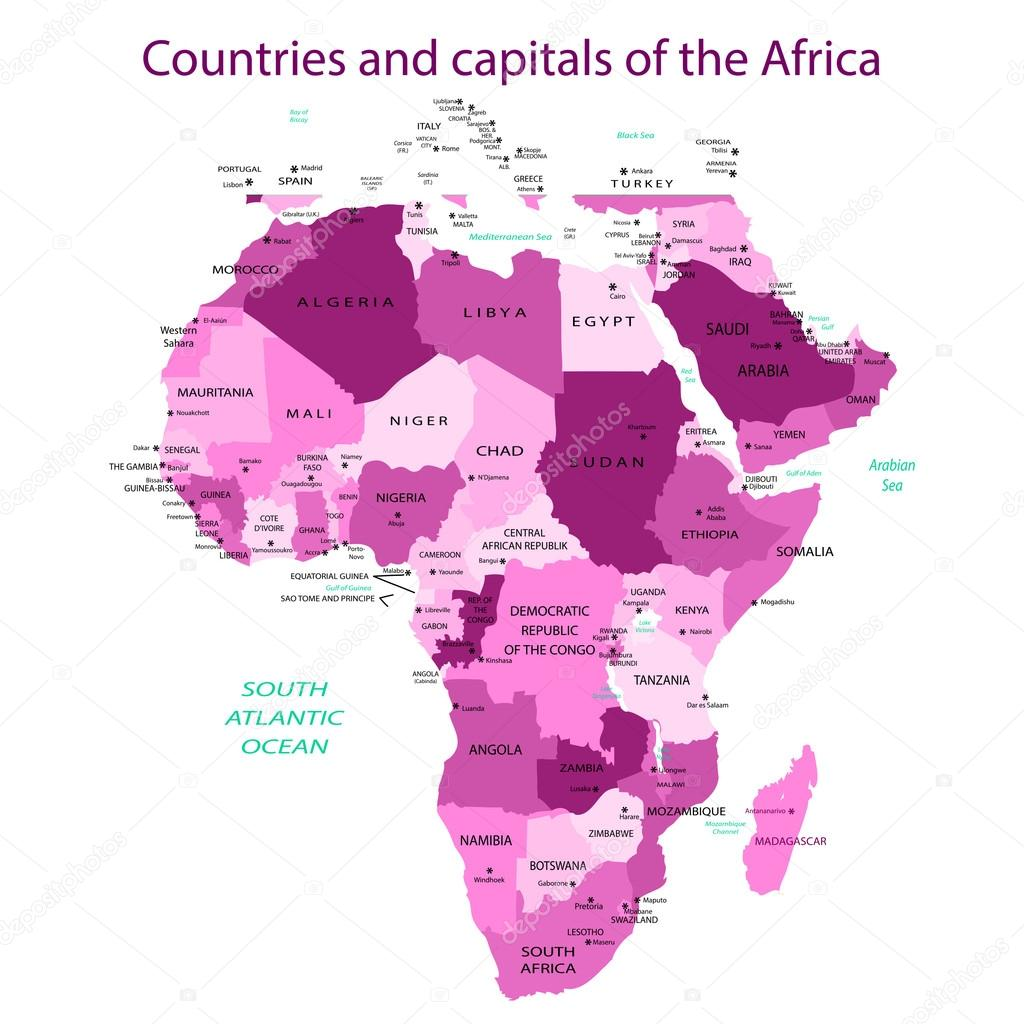Countries And Capitals Of The Africa Pink Stock Vector