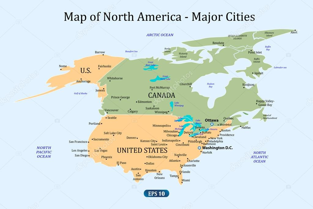 Map of North America - Major Cities — Stock Vector ...