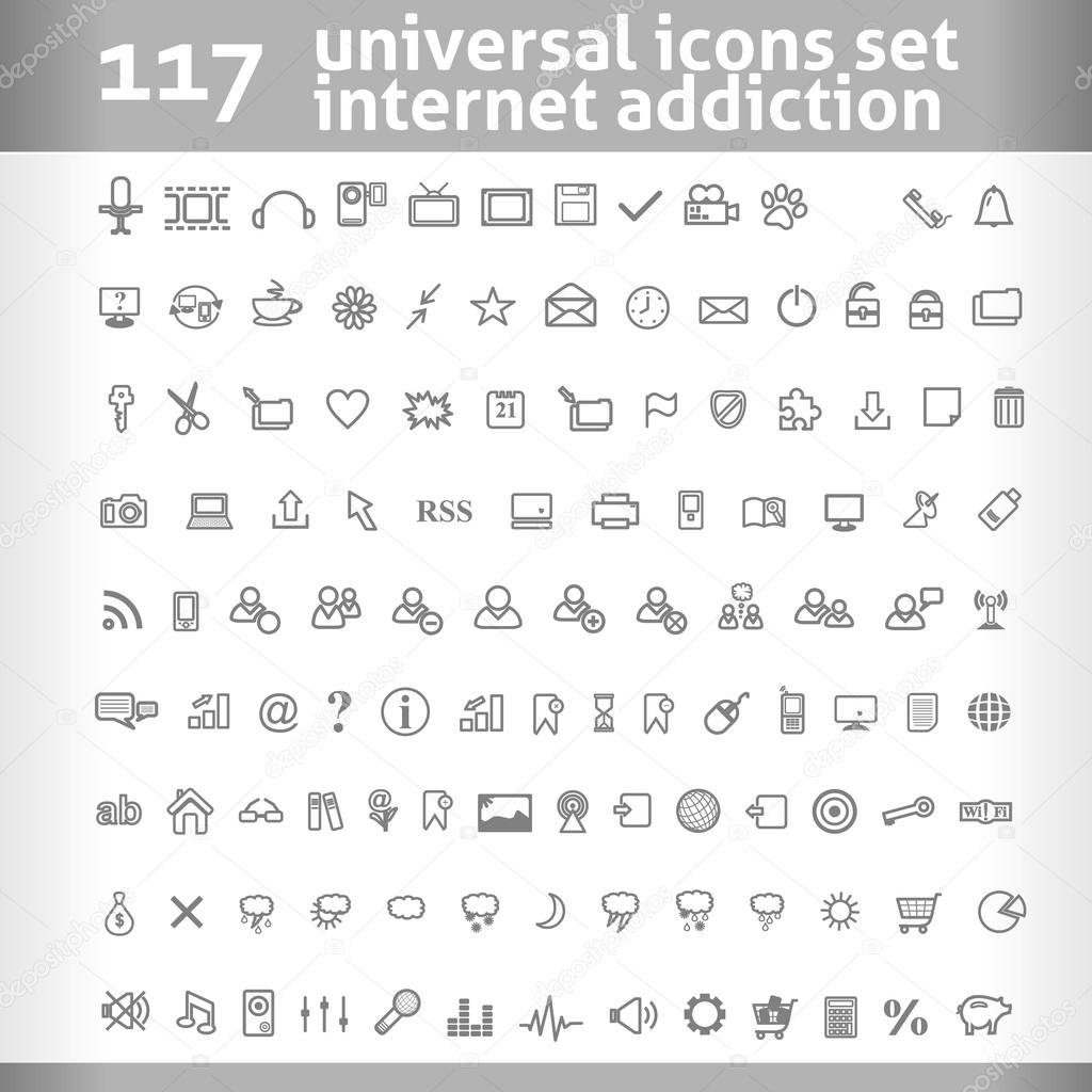 117 Universal Icons Set. Vector Collection