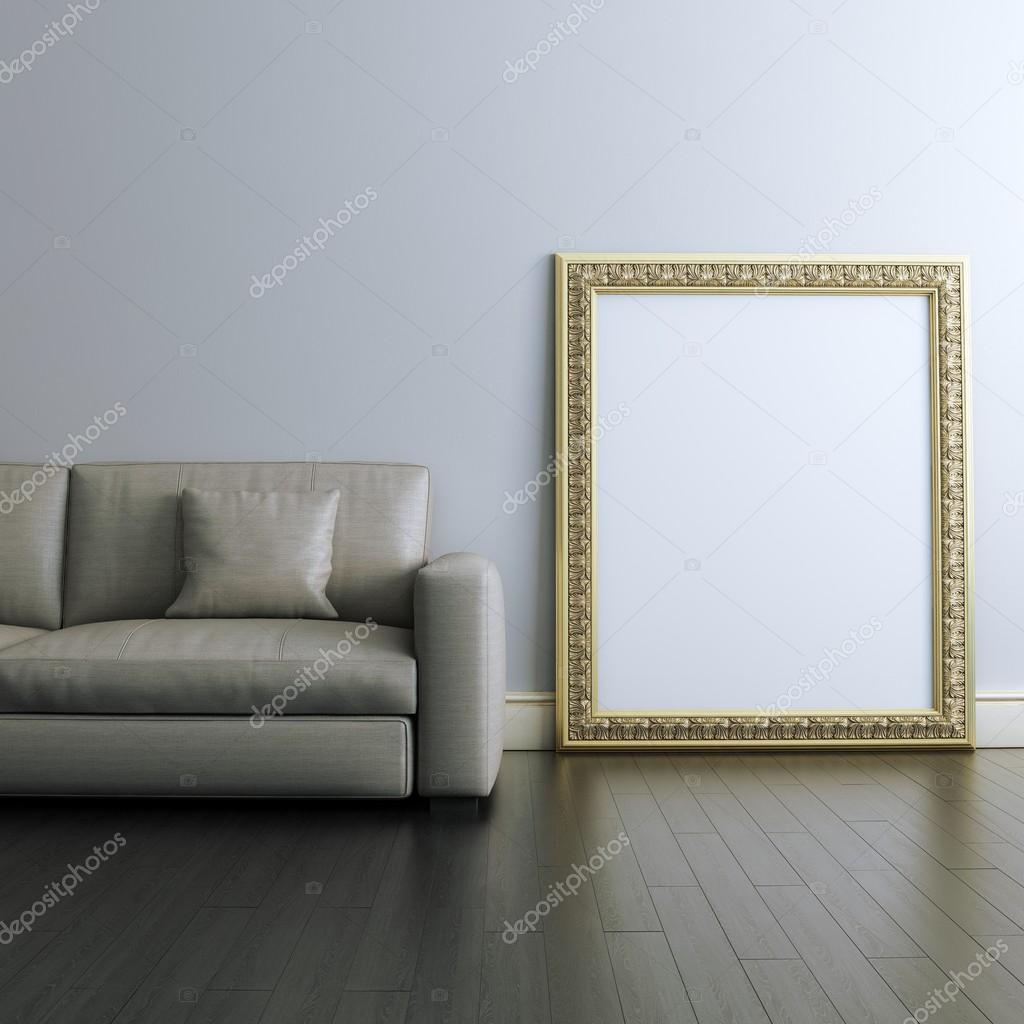 Galería interiorismo con marco tallado en blanco oro — Foto de stock ...