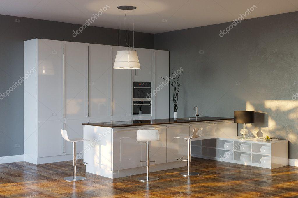 cucina hi-tech di lusso con pareti grigie e bar — Foto Stock © viz ...
