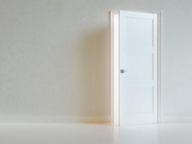 Empty White Room Interior With Opened Door.