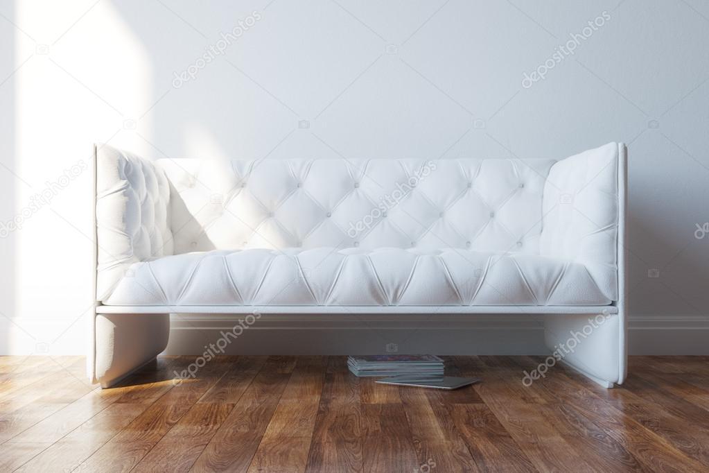Vintage weiß design couch im minimalistischen interieur
