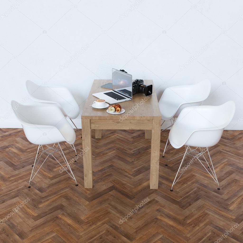 Eleganz Wohn Esszimmer Mit Klassischen Holztisch Und Weiße Stühle U2014 Foto  Von Viz Arch
