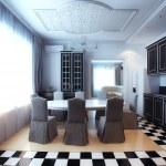검은색과 흰색 부엌 인테리어 식당 — 스톡 사진 © viz-arch #45537015