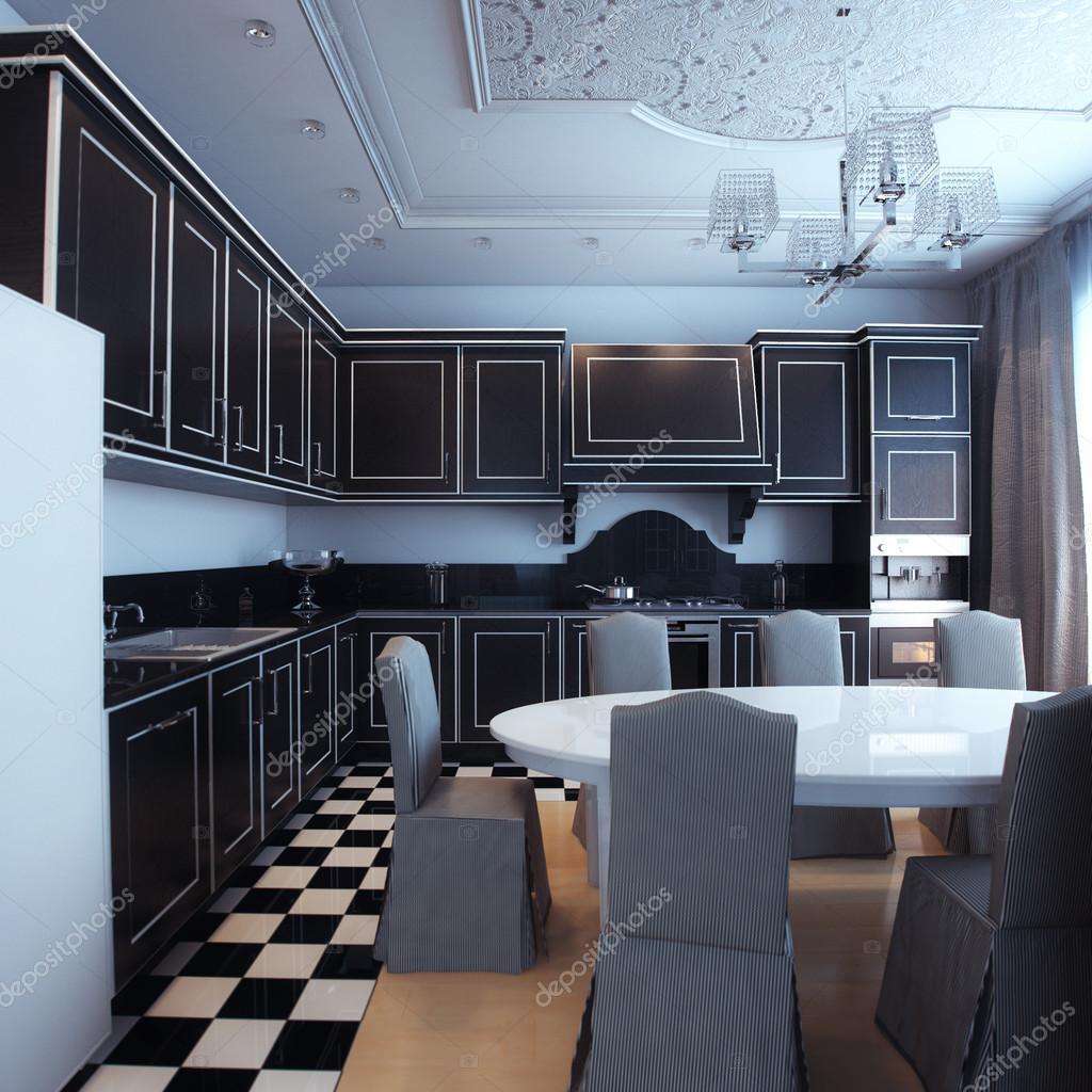 검은색과 흰색 부엌 인테리어 식당 — 스톡 사진 © viz-arch #45537005
