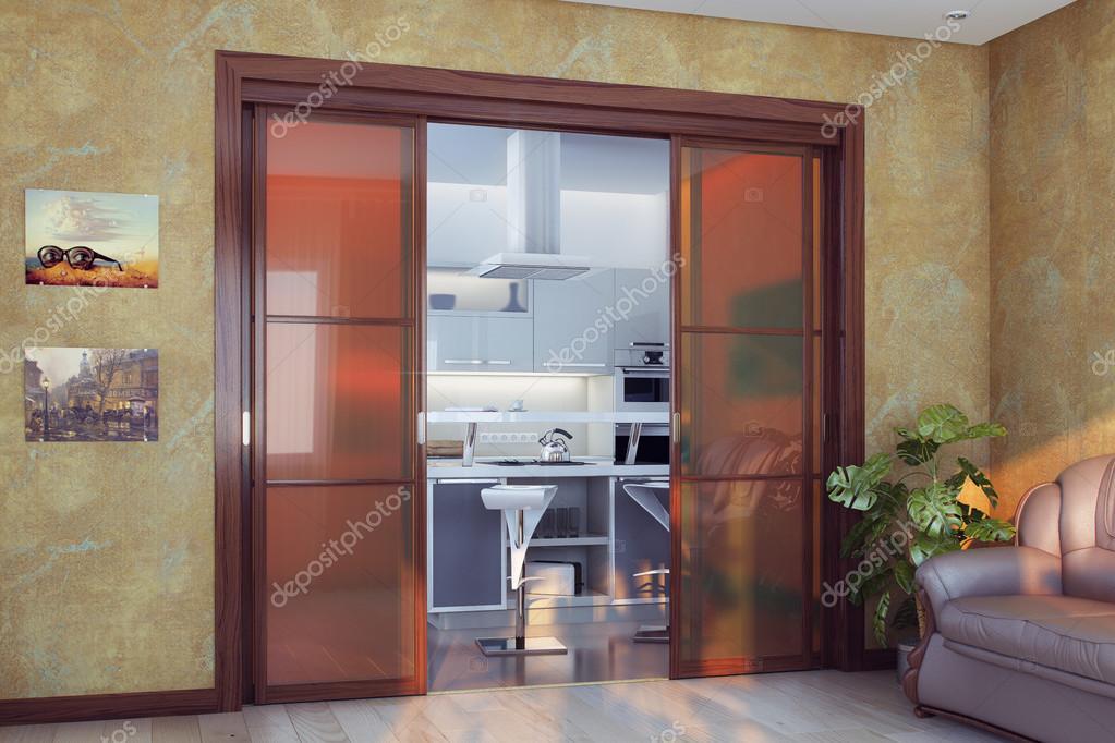 La Porte De La Cuisine salon moderne avec grande porte de la cuisine — photographie viz