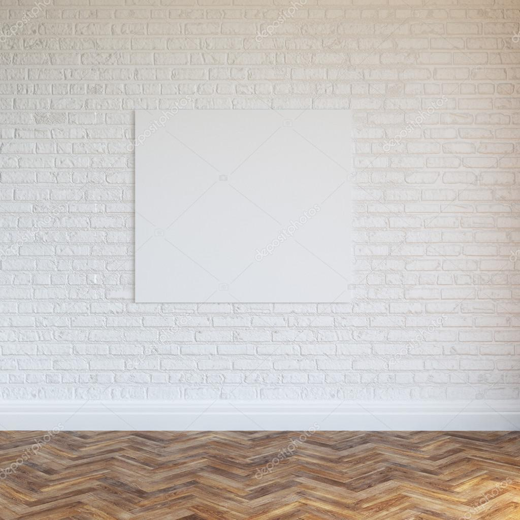 White Brick Wall Interior Design With Blank Frame U2014 Stock Photo #46493303