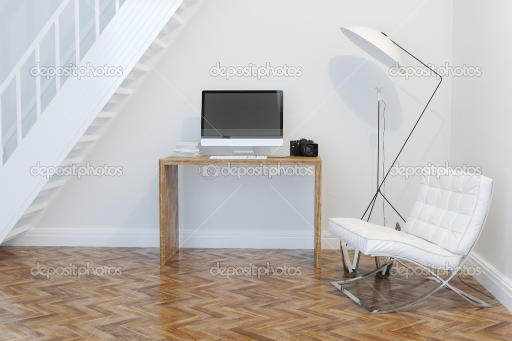 Interno gabinetto di lavoro casa con scale e illuminazione u foto
