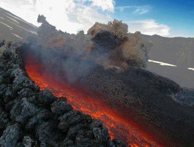 Active volcano in eruption Etna in Sicily