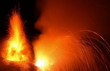 Active volcano in eruption Stromboli volcano