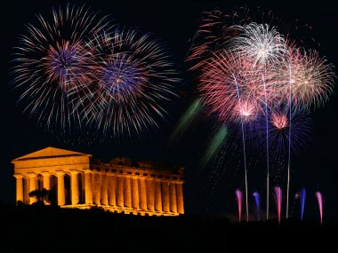 Fireworks party with greek Temple