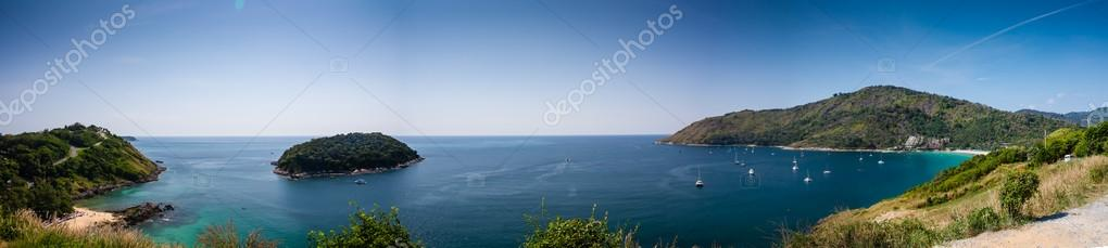 Panorama from viewpoint Nai Harn and Yanui Beach