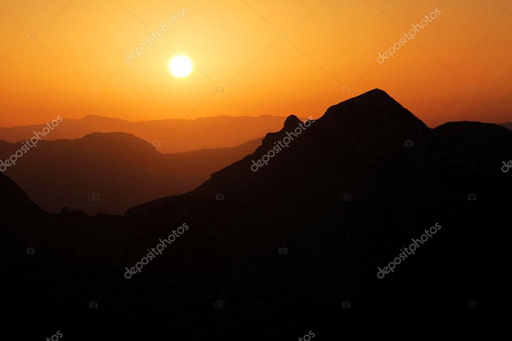 Sunset over mountain in Bosnia