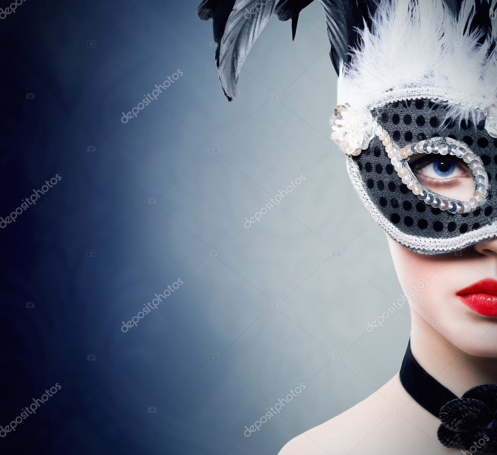 Beautiful young woman in black carnival mask stock vector