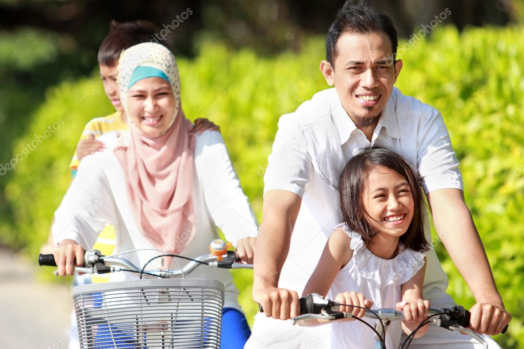 Family outdoor with bikes