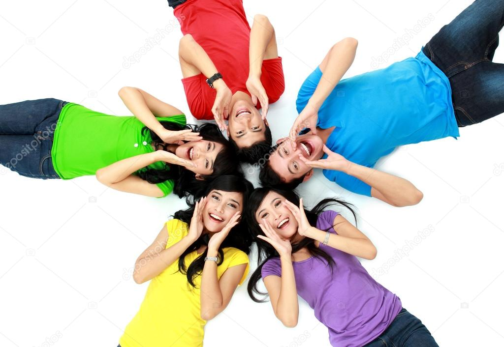 Colorful group of friends on the floor