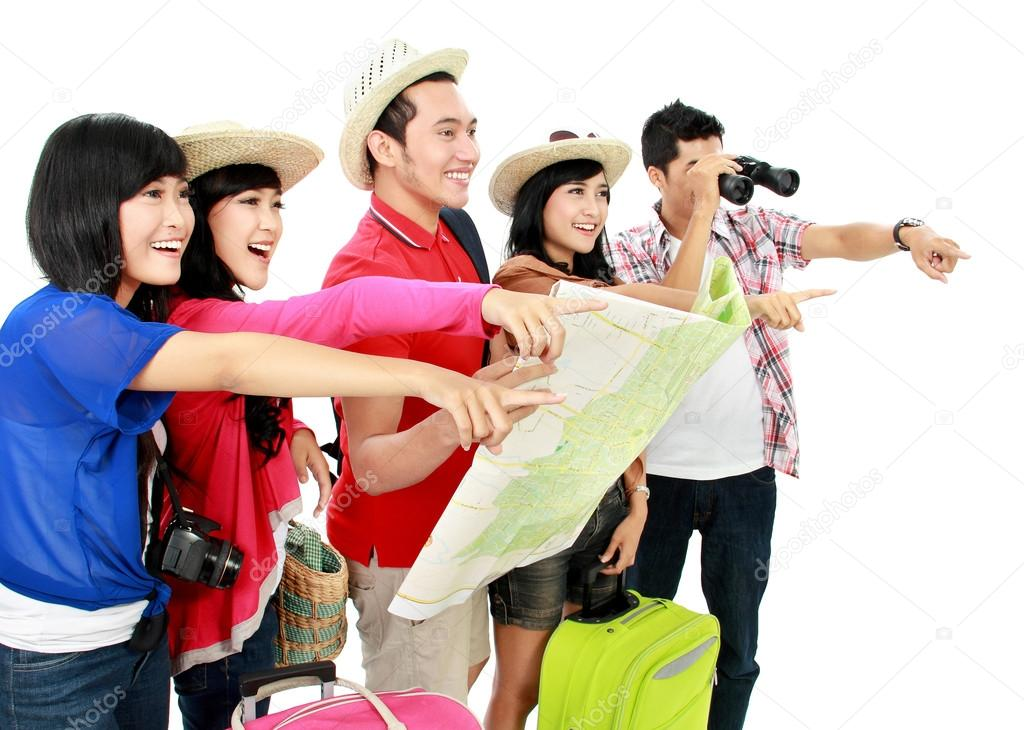 Happy young tourists