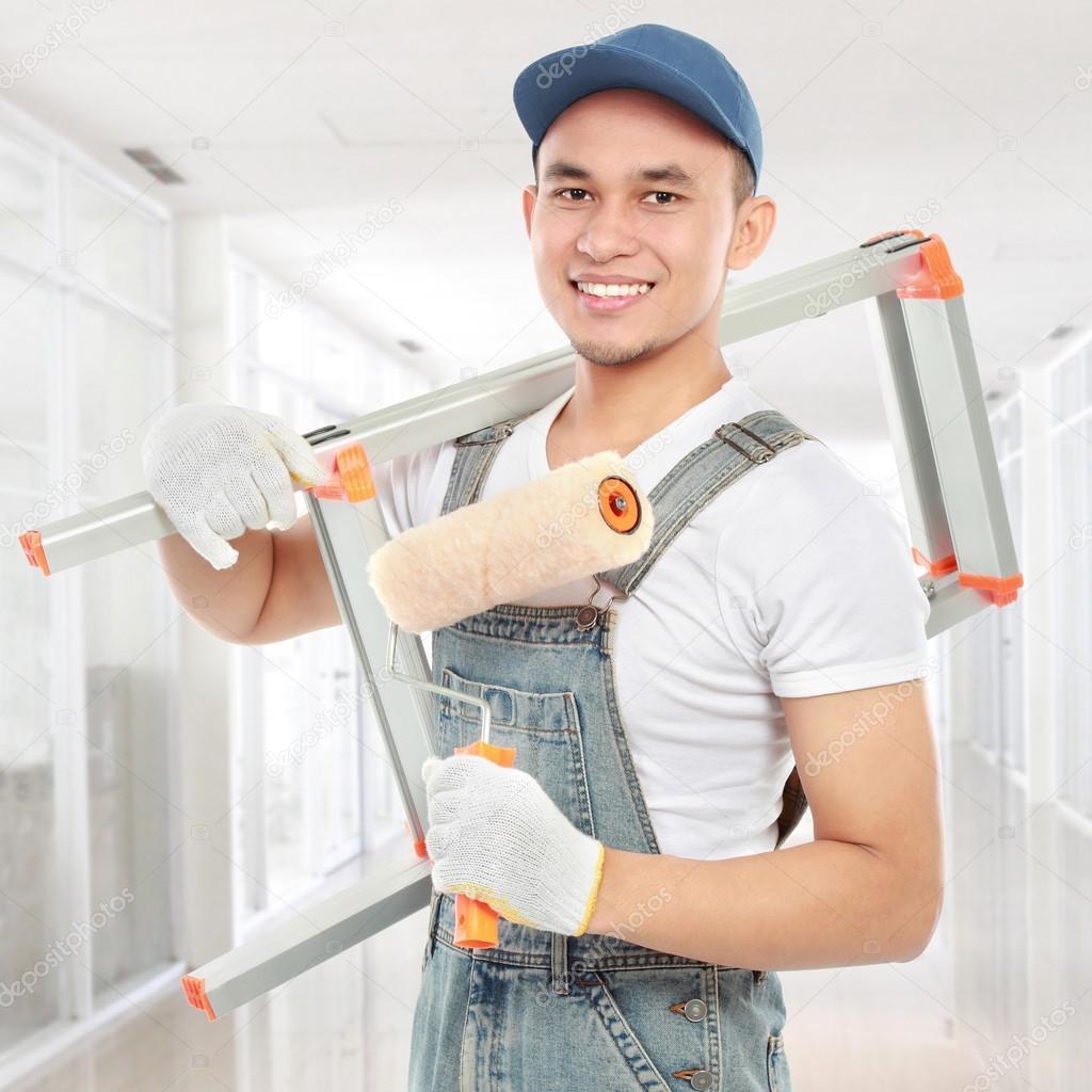 happy painter worker