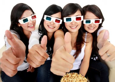 Group of girls watching the movie