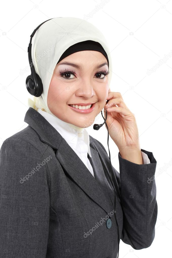 beautiful Muslim woman on the phone