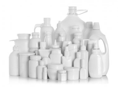 Still life portrait of a group of product packaging. isolated over white stock vector