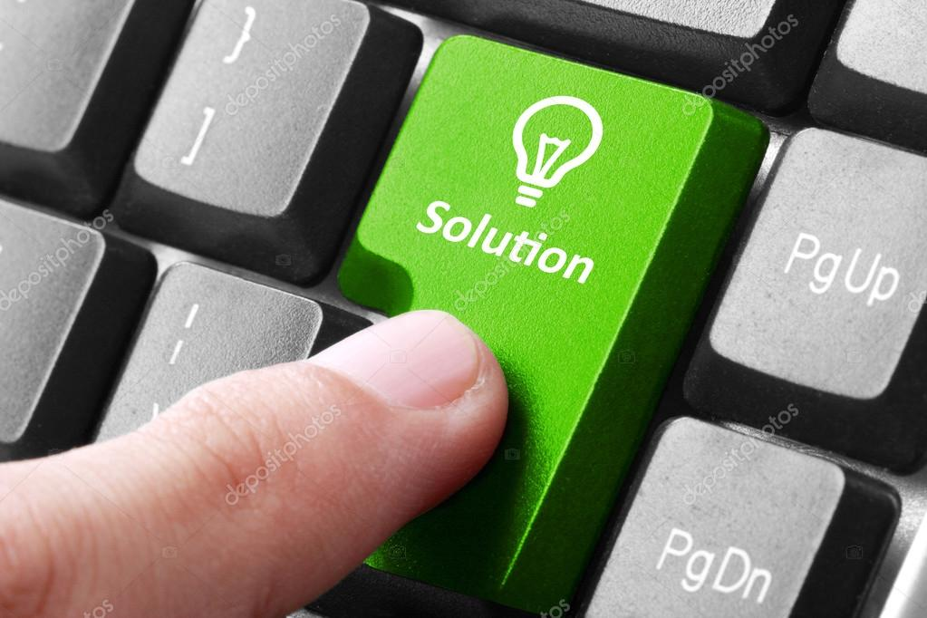 Green solution button on the keyboard