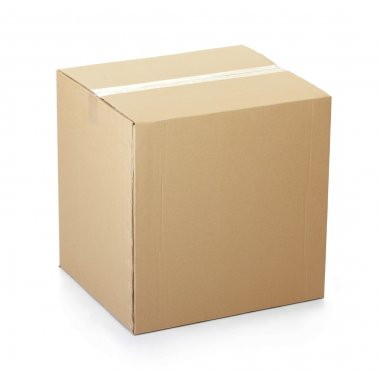 Closed cardboard box taped up and isolated on a white background. stock vector