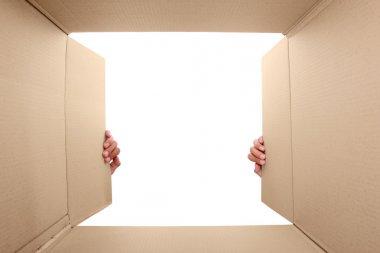 hand open cardboard box