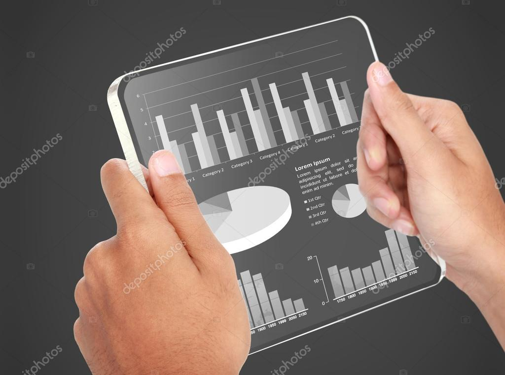business chart financial concept on transparent screen tablet pc