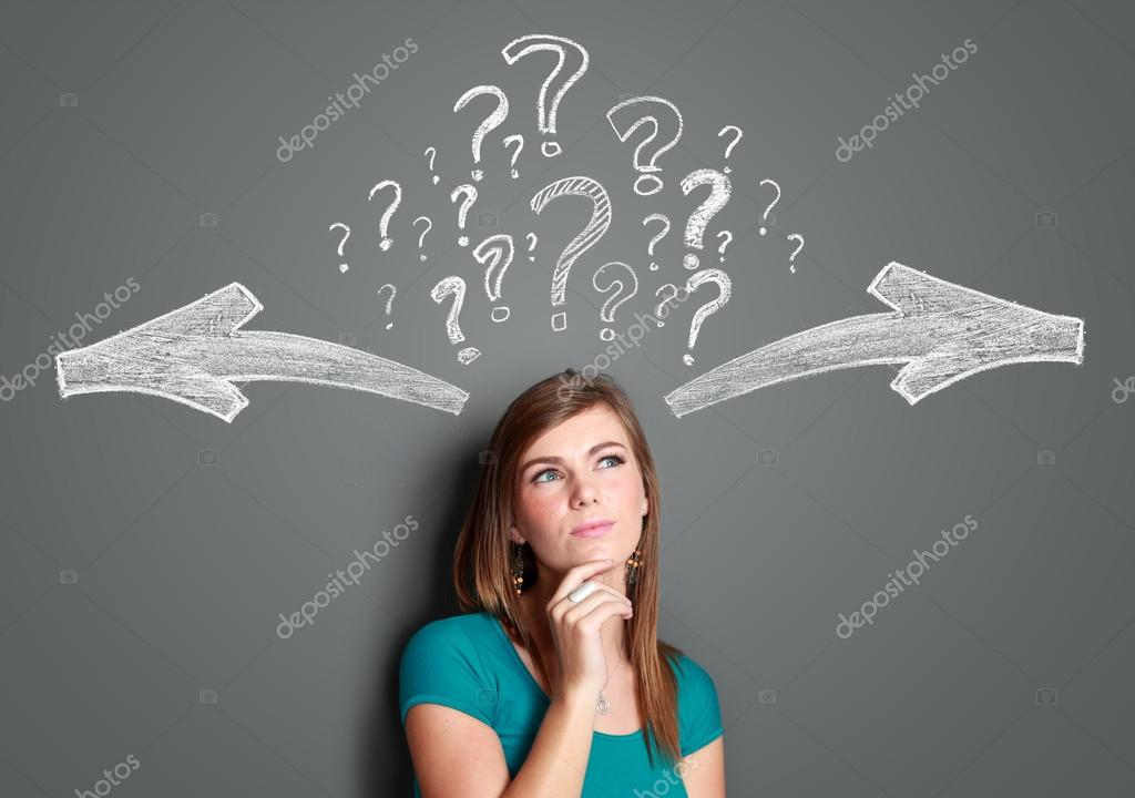 woman making a decision with arrows and question mark above her