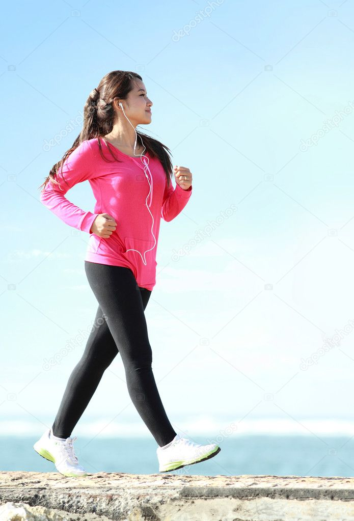 Brisk walking on the beach
