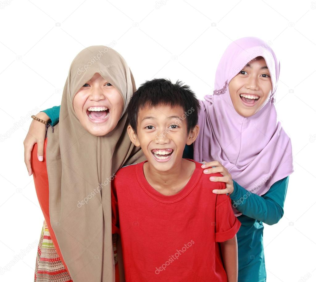 Portrait of three kids  smiling