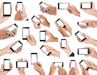 set of hand holding mobile smart phone with blank screen