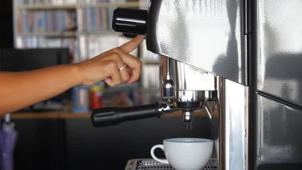 Barista making single espresso shot